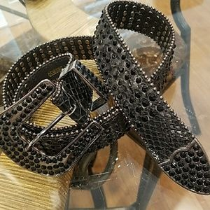 Genuine reptile Leather belt with black crystal
